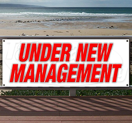 Under New Management 13 oz Heavy Duty Vinyl Banner Sign with Metal Grommets, New, Store, Advertising, Flag, (Many Sizes Available) by Tampa Printing