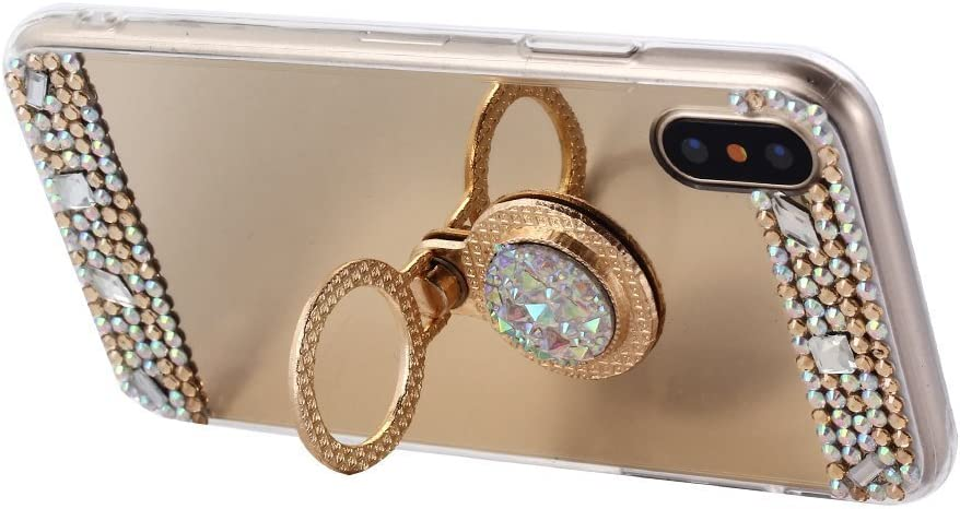 Lozeguyc iPhone 11 Pro Case Crystal Rhinestone Mirror Glass Case Bling Diamond Soft Rubber Makeup Case for iPhone 11 Pro 5.8 Inch with Detachable 360 Degree Ring Stand-Rose Gold