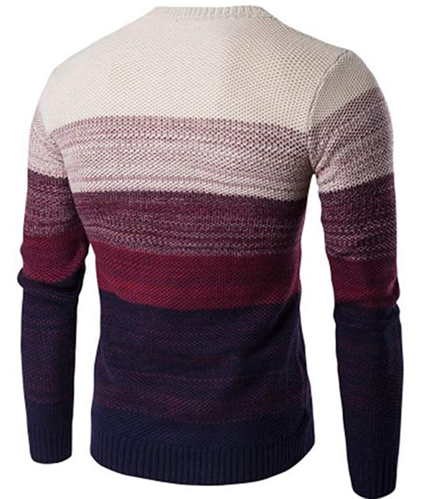 Wofupowga Mens Padded Contrast Color Comfortable Knitted Ombre Pullover Jumper Sweaters