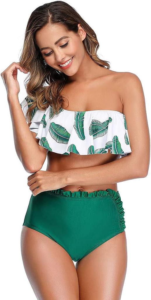 ZXjymll//~ Womens Two Piece Swimsuit One Shoulder Swimwear Bathing Suits High Waisted Bikini Set