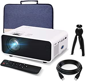 Mini Movie Projector, EFFUN Video Projector with Projector Screen, Supported 1080P HD Projector for Home Theater, Portable LED Video Projector Compatible with HDMI, VGA, USB, TF, iPhone, iPad