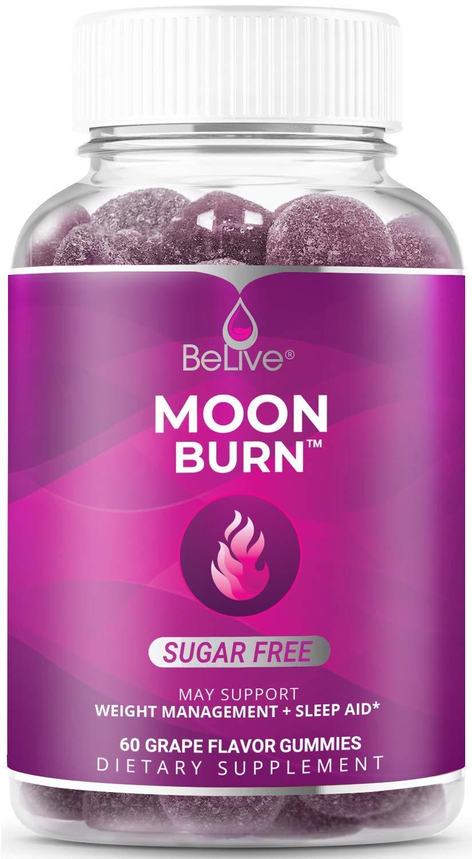 MoonBurn Nighttime Melatonin Gummies - Apple Cider Vinegar, Chromium, Magnesium - Relaxation & Sleep Support - Grape Flavor (60 Ct)