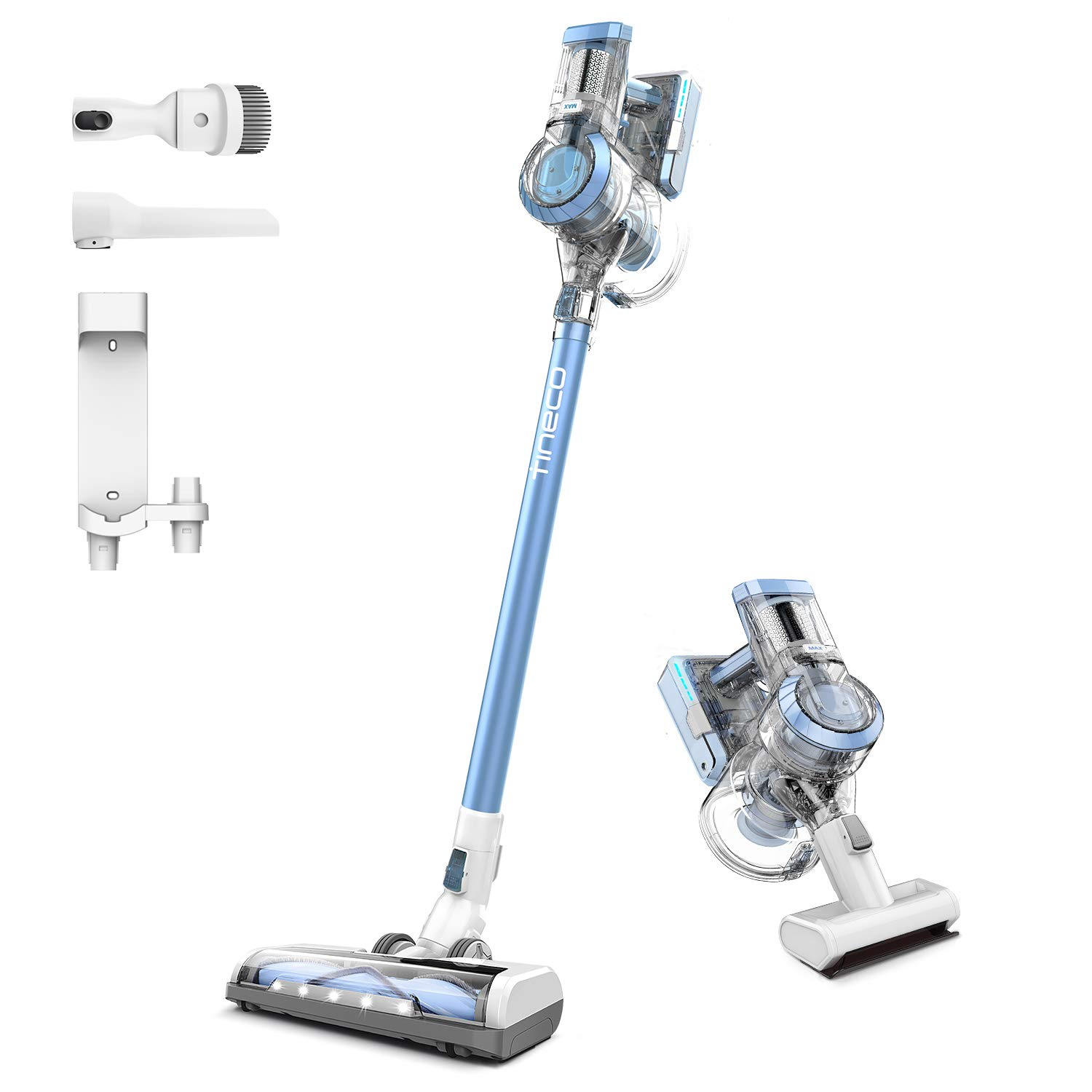 Tineco A11 Master Cordless Vacuum Cleaner Handheld Stick Vacuum 450W Rating Power Powerhouse Charging 2 LED Powered Brushes for Hardwood Floors Carpet Pet Hair Clean