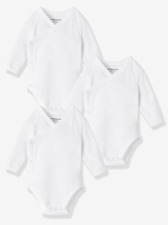 VERTBAUDET Lot de 3 bodies naissance Bio Collection blanc manches longues Blanc 1M 54CM