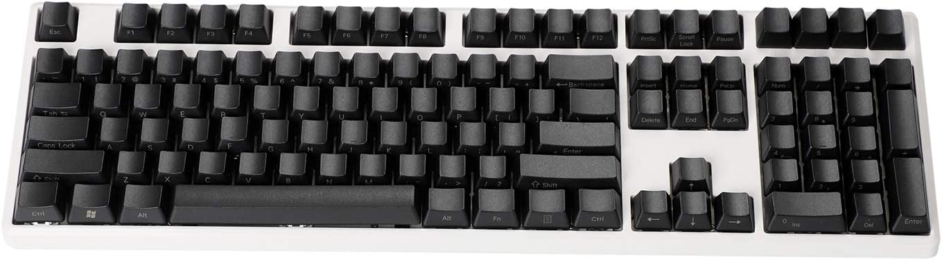 Side-Printed Thick PBT OEM Profile 108 ANSI Keycaps for MX Switches Mechanical Keyboard (Only Keycap) (Black)