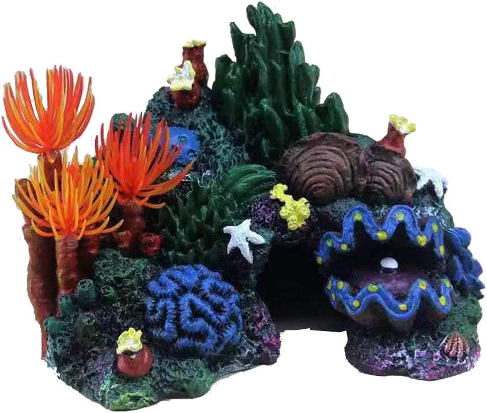 MANMEI Artificial Resin Small Coral Reef Aquarium Ornament,Landscape Fish Tank Rock Mountain Cave for Betta Sleep Rest Hide Play Breed Mini Sized 3.94 inch Tall
