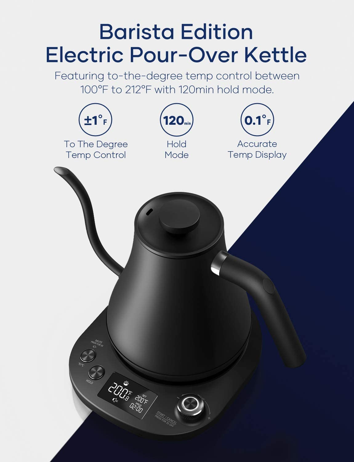 Aicook Electric Gooseneck Kettle Temperature Control, Pour Over Kettle for Coffee and Tea, 100% Stainless Steel Inner Lid and Bottom, 1200W Rapid Heating, 0.8L, Matte Black: Kitchen & Dining