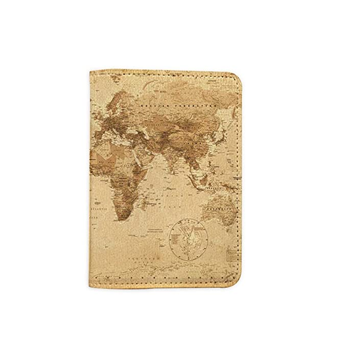 890045532 Image Unavailable. Image not available for. Color: Vintage World Map Leather  Passport Holder ...