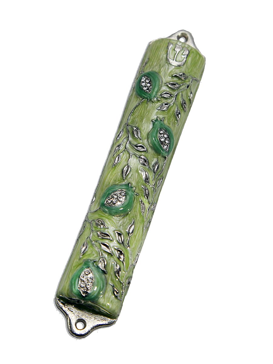 Bless This House, Mezuzah Case - Mezuzah Cover, Pomegranate Tree Design Crafted in Pewter, Jerusalem Judaica, Door Mezuza Case 4'' Apple Green Color by Creative Judaica