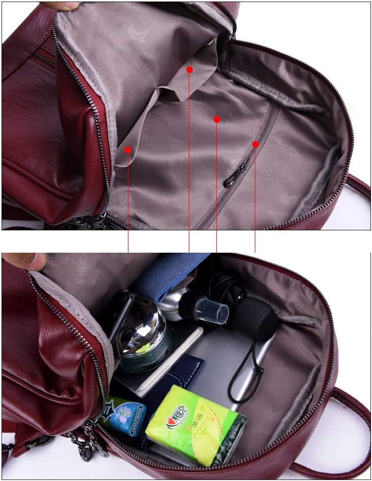 Black//Blue//Red//Purple//Gray PU Leather Large Capacity. Haoyushangmao Girls Multifunctional Backpack for Daily Travel//Outdoor//Travel//School//Work//Fashion//Leisure