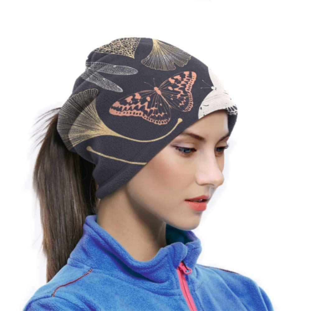 Ear Warmer Headband /& Face Mask.Floral Pattern Ginkgo Leaves Ultimate Thermal Retention Versatility /& Style. Microfiber Neck Warmer Neck Gaiter Tube