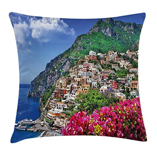 YVSXO Italy Throw Pillow Cushion Cover, Scenic View of Positano Amalfi Naples Blooming Flowers Coastal Village Image, Decorative Square Accent Pillow Case, 18 X 18 Inches, Pink Green Blue