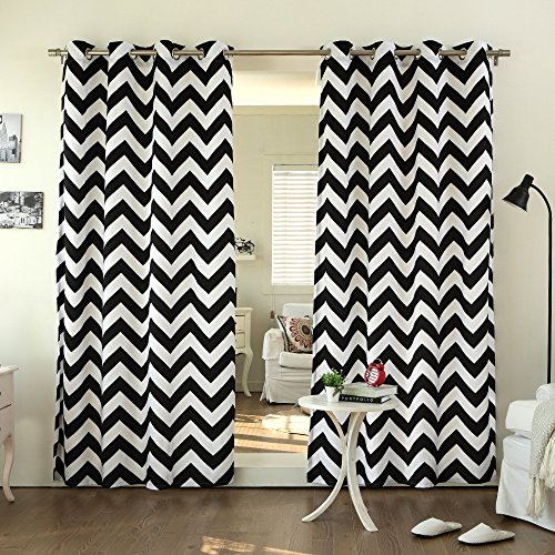 Best Home Fashion Chevron Print Velvet Curtains – Stainless Steel Nickel Grommet Top – Black – 52″ W x 84″ L – (Set of 2 Panels)