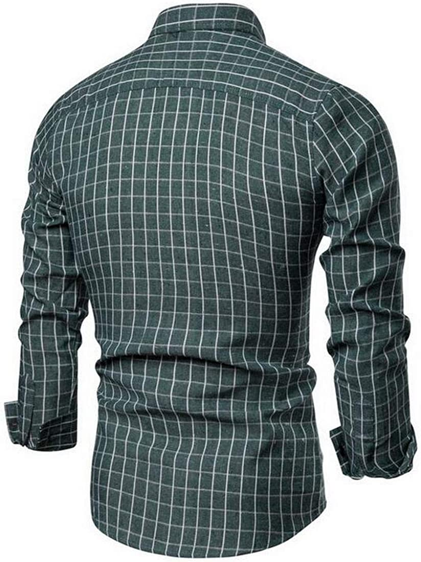 Fubotevic Mens Contrast Plaid Print Long Sleeve Casual Regular Fit Button Up Flannel Checkered Shirt