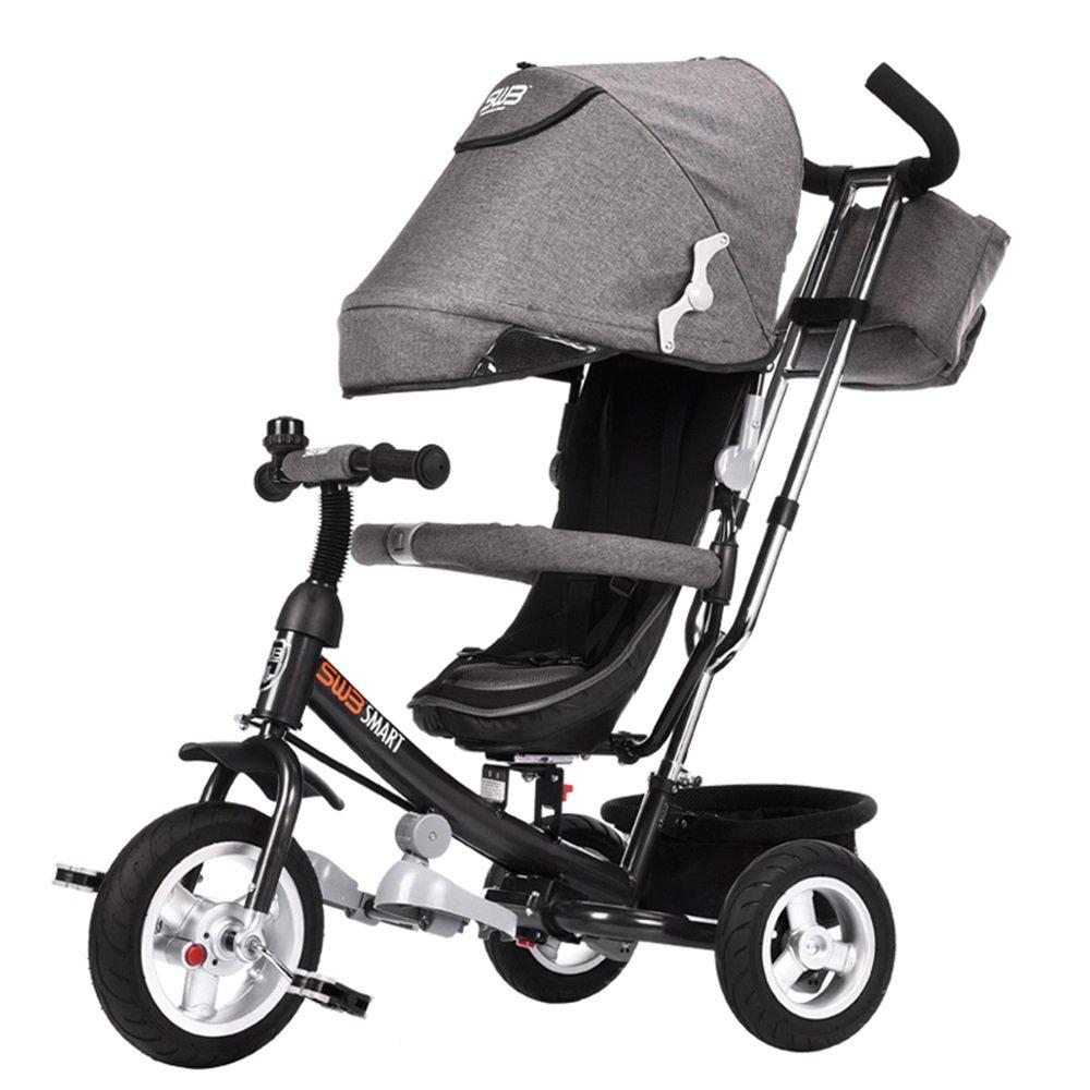 Triciclo Plegable de los Niños, Bici, Carretilla del bebé, Bici del bebé, Carro de bebé (Color : Gris)