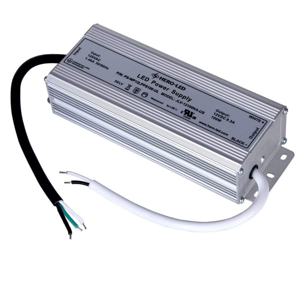 HERO-LED PS-WP12LPS100-UL UL-Recognized and SELV-Qualified LED Power Supply - Constant Voltage LED Transformer - Waterproof Power Supply 12V DC, 8.3A, 100W