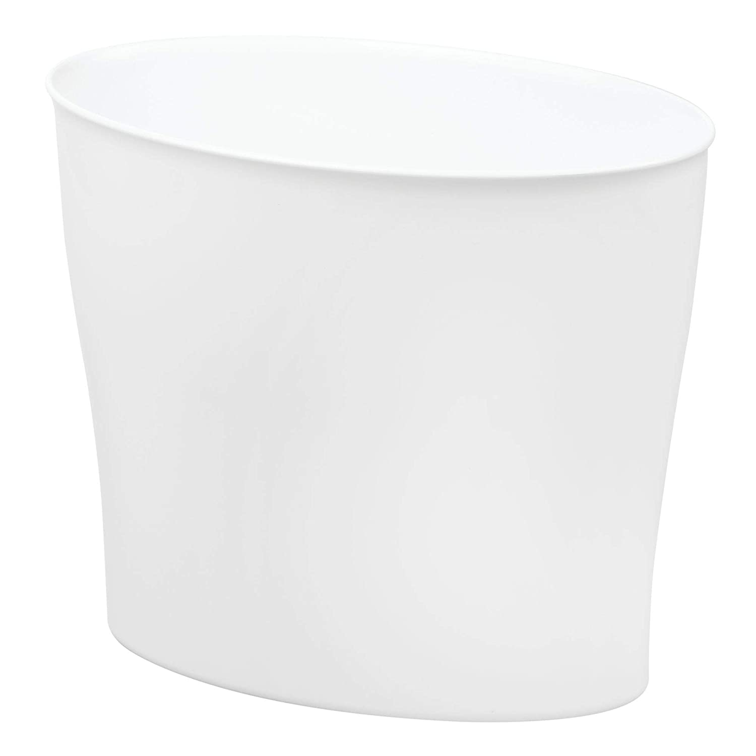 InterDesign Wastebasket Trash Bathroom, Bedroom or Office – White Nuvo Waste Can