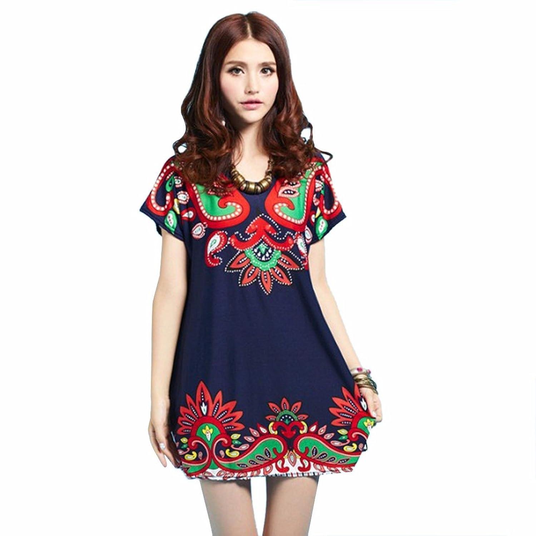 Retro Frauen New Floral gedruckte kurze Huelsen-beilaeufige Blusen-lose kurze Kleid
