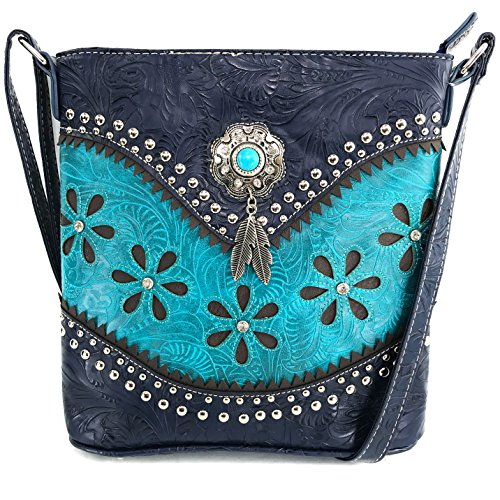 Justin West Turquoise Stone Concho Feathers Western Tooled Studs Concealed Carry Handbag Purse (Turquoise Messenger Only)