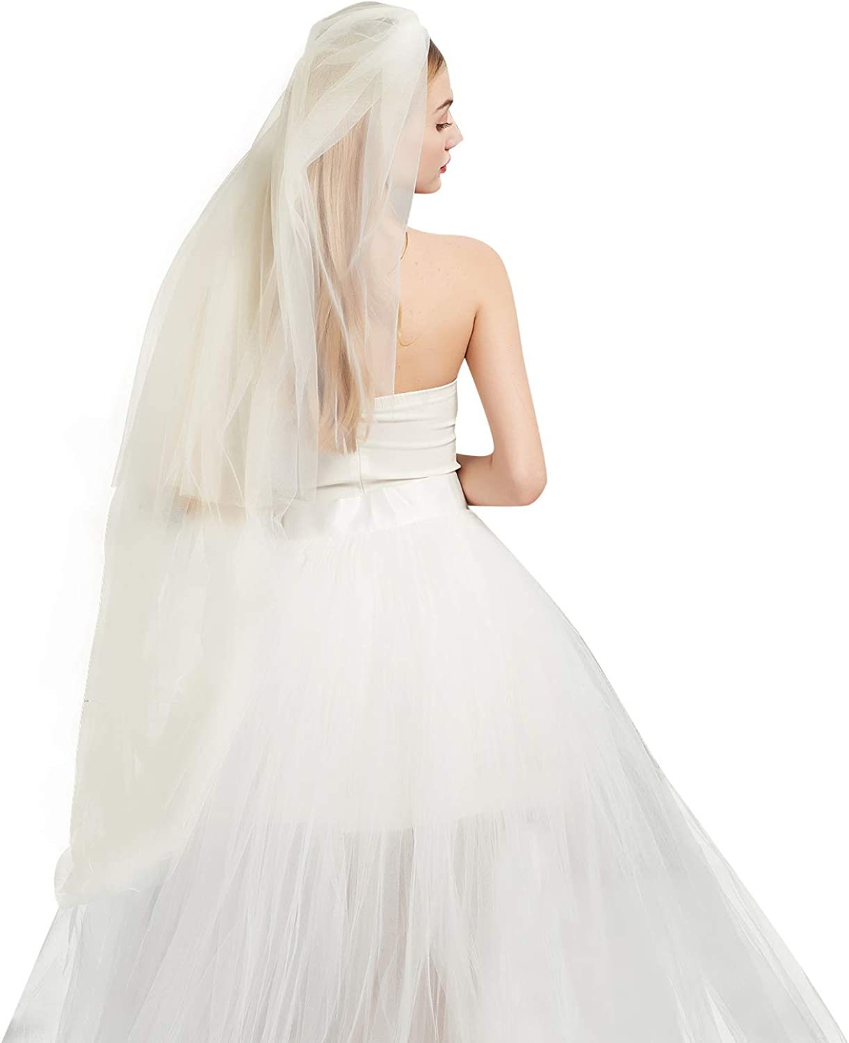 Wedding Bridal Veil with Comb 2 Tier Cut Edge Cathedral &Waltz Length White Ivory