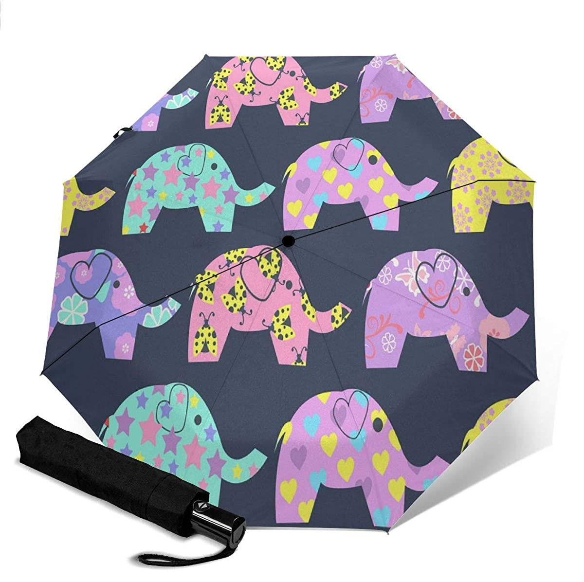 Colored Elephants With Different Patterns Compact Travel Umbrella Windproof Reinforced Canopy 8 Ribs Umbrella Auto Open And Close Button Personalized
