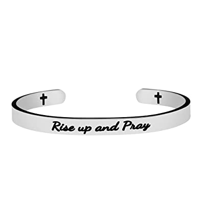 Buy Joycuff Birthday Gift For Christians Positive Stainless Steel Cuff Bangle Mantra Bracelets Engraved Rise Up And Pray Online At Low Prices In India