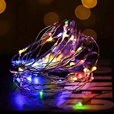 LED Flame Effect Lights 6.6 Ft 20 LED String Lights Waterproof Battery Operated Flickering Candle Fire Wine Bottle Cork String Light for Indoor Outdoor Christmas Party Decoration Multicolor
