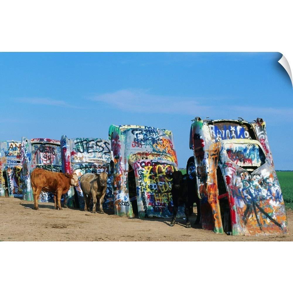 "CANVAS ON DEMAND Wall Peel Wall Art Print Entitled Cattle at Cadillac Ranch, Texas 18""x12"""