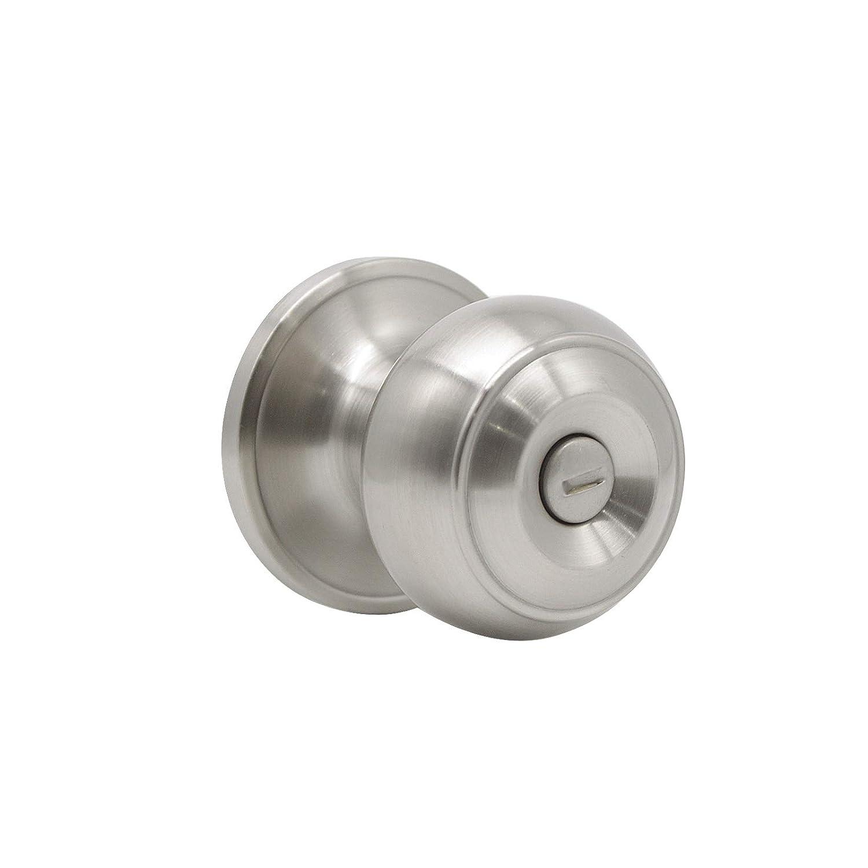 Gobrico Falt Ball Satin Nickel Finished Entry Door Locksets with Same Key Keyed-Alike Exterior Door Knobs 15 Pack