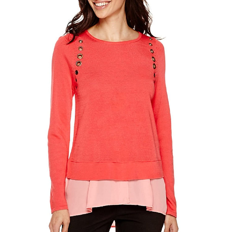 Worthington Long-Sleeve Grommet Layered Sweater PXL