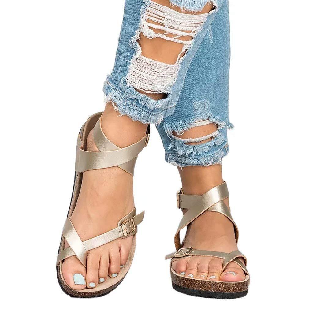 Sara Love Women's Summer Flat Ankle Buckle Sandals Gladiator Thong Flip Flop Mayari Sandals Gold 40