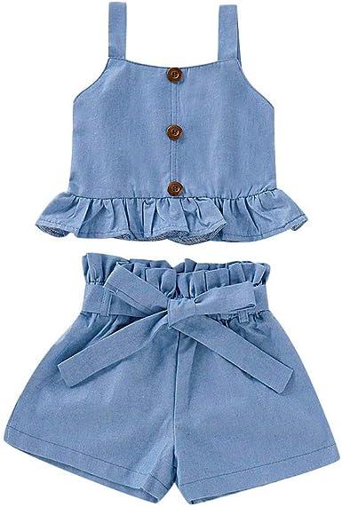 Toddler Jumpsuit Girl,Fineser Baby Girls Kids Denim Sleeveless Lace Ruffles Jumpsuit Romper Overalls+Headband 2Pcs Sets