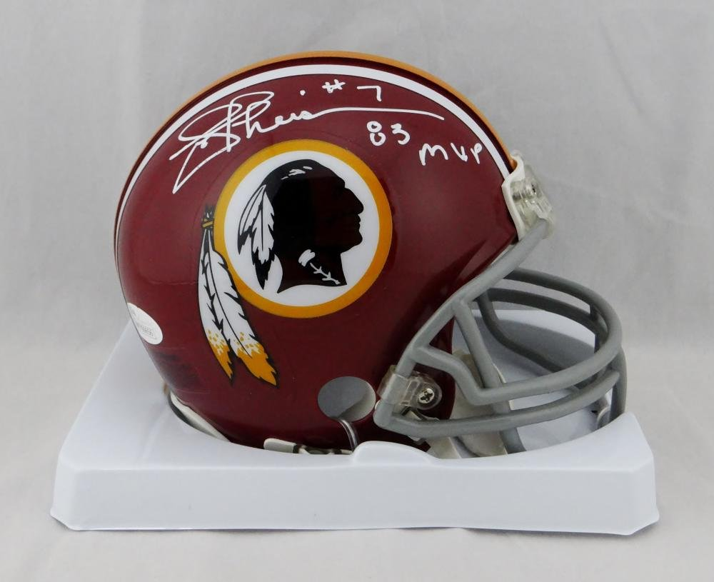 Joe Theismann Signed Redskins TB 72-77 Mini Helmet W/ 83 MVP- JSA W Auth White