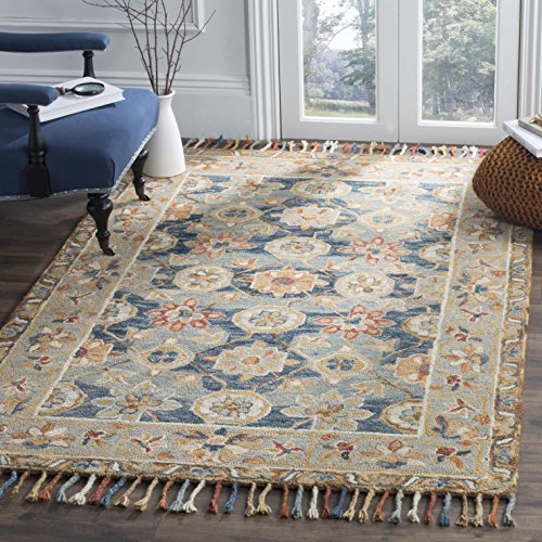 Safavieh Aspen Collection APN110A Grey and Navy Premium Wool Area Rug (8' x 10')