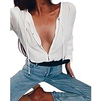 SUNNSEAN Damen Tops Schulterlange Tuniken Bluse, Damen V-Ausschnitt Schnürung Langarmshirts T-Shirt Elegante Pullover Mode Verstellbare Tops Lose Hemd