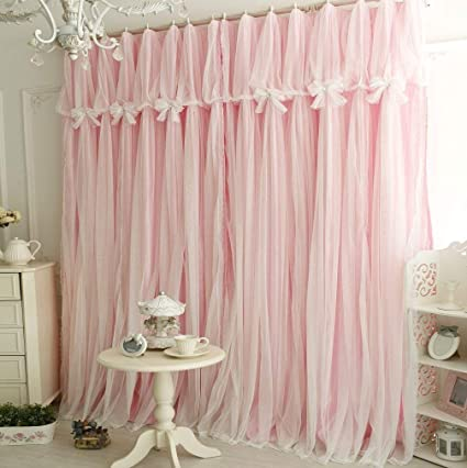 Queens House Girls Pink Lace Bedroom Curtains Panels Set Of 2 52