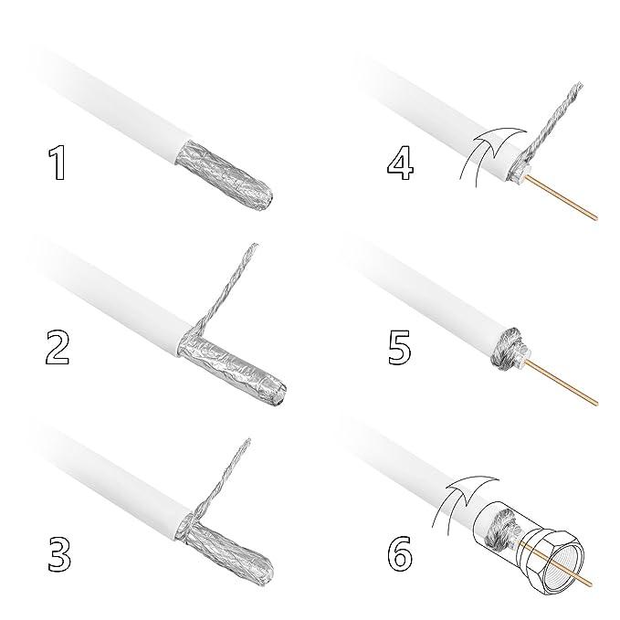 HB-Digital - Cable coaxial para DVB-S, S2 DVB-C y DVB-T(130 dB, HQ-135, Pro, apantallamiento cuádruple, BK, 10 conectores F dorados) 50m Hellgrau weiss: ...