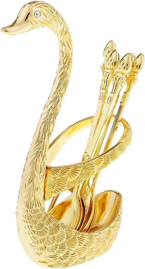 LoveinDIY Swan Stainless Steel Fruit Spoons Base Holder Sets Wedding Gift Pastry Gold 15.5x8x5cm