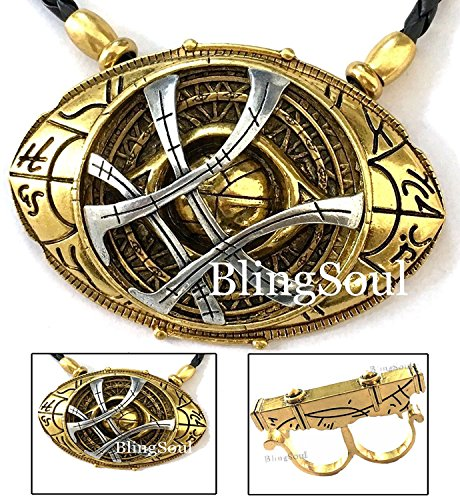 NEW Doctor Strange Costume Cosplay Necklace - Eye of Agamotto Infinity Stone Prop Jewelry (Large)