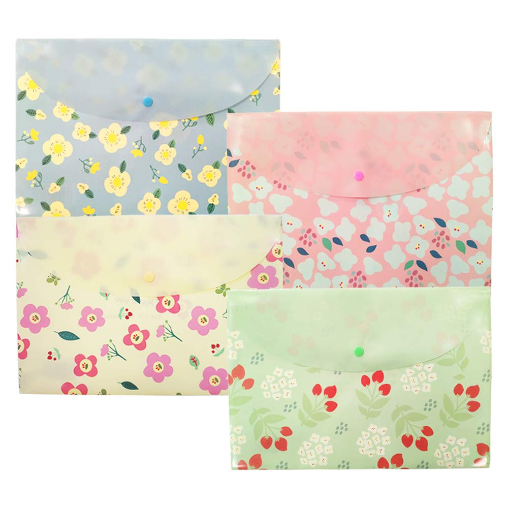 12Pcs Floral Poly File Folders, Letter Size A4 Plastic Envelopes Document Organizer Booklet File Paper Folders with Snap Button