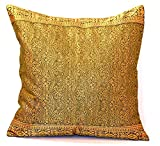 Embroidered Pillow Cover, hand stitched from Original Indian Jazz Sari Fabric with Intricate Embroidered borders. Produced in Rajasthan, India and Imported into the USA. (Sage Green, 16x16'')