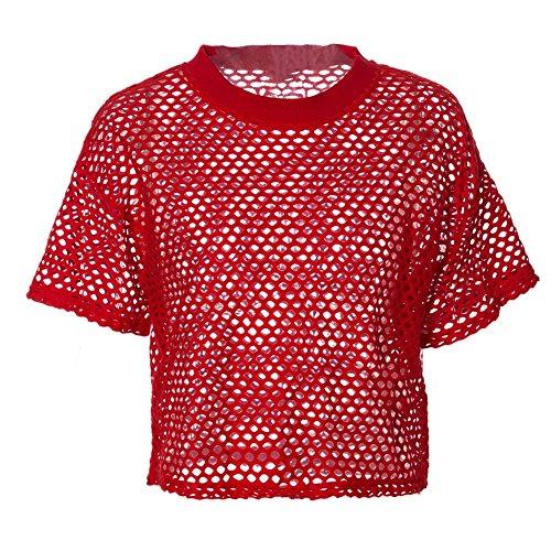 Merecho Women's Sexy Sheer Short Sleeve See Through Mesh T-Shirt Crop Top Red M (Pants Crop Red)