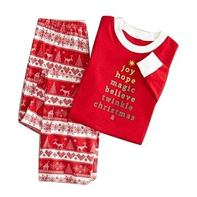 amazoncom family christmas pajamas setwoopower long sleeve matching print sleepwear adult kids xmas nightwear xxxl clothing