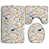 Corgi Dog Accessories Bathroom Rugs Set Easily Fold Contour Bath Rug Dries Quickly Lid Toilet Cover And Bath Mat