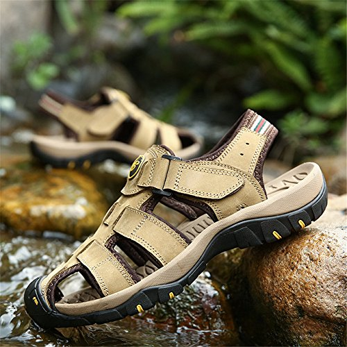 CNBEAU Beach Soft Sports Casual Summer Shoes Khaki Slippers Toe Sandals Closed Fisherman Outdoor Flat Men's Athletic rg8rR