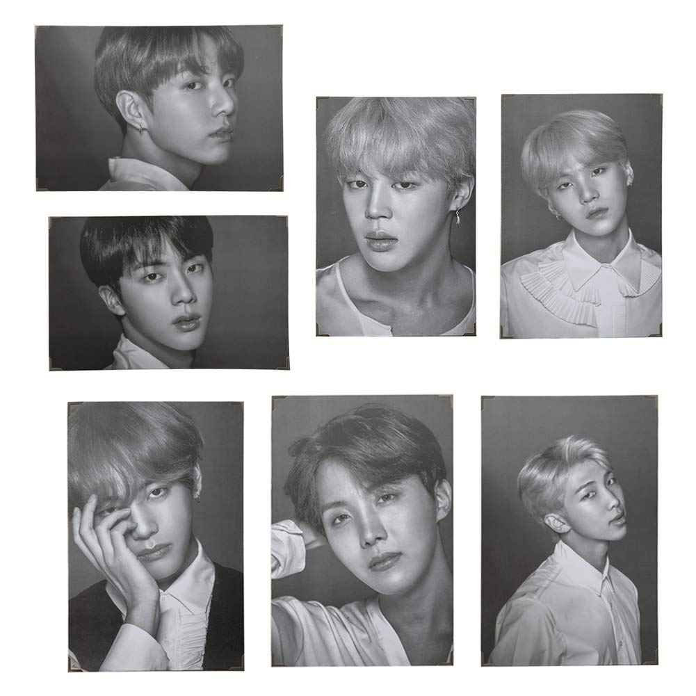 Cianowegy Kpop BTS Bangtan Boys BTS Wings Official Poster Photocard Photo Frame Poster Large Photo Card Postcard, Fans Collection Version, 14.4×9.3 Inch (1.Version 2017)