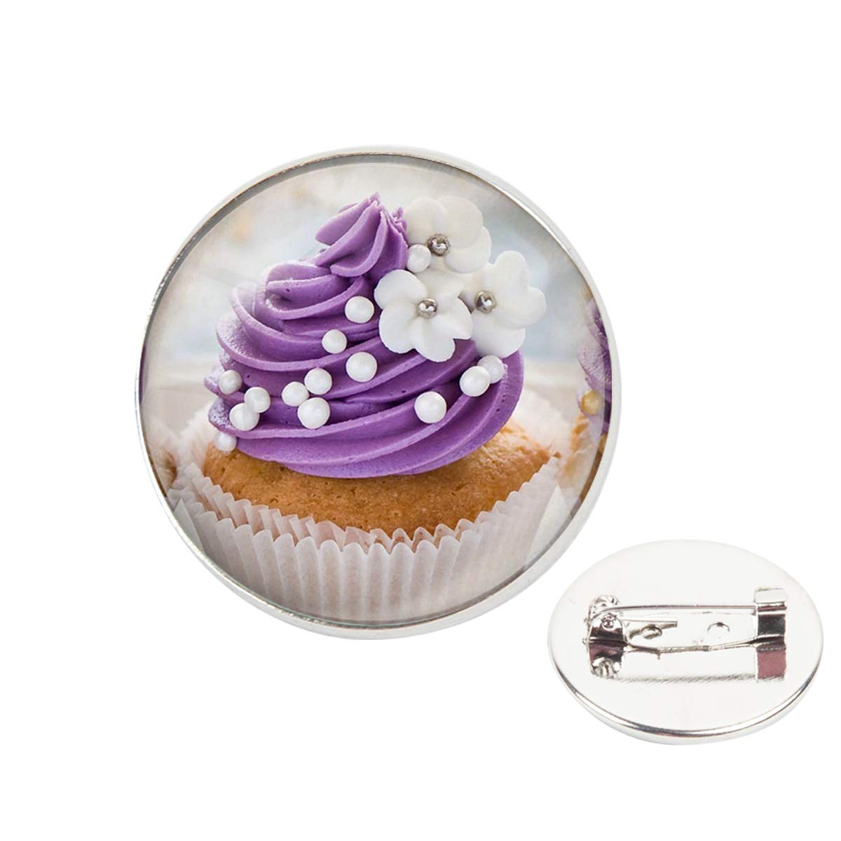 Pinback Buttons Badges Pins Purple White Pearl Cupcake Lapel Pin Brooch Clip Trendy Accessory Jacket T-Shirt Bag Hat Shoe