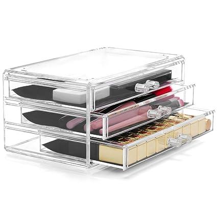 LaRoc – Juego de maquillaje acrílico transparente organizador maquillaje cajones bandeja pantalla caja caso