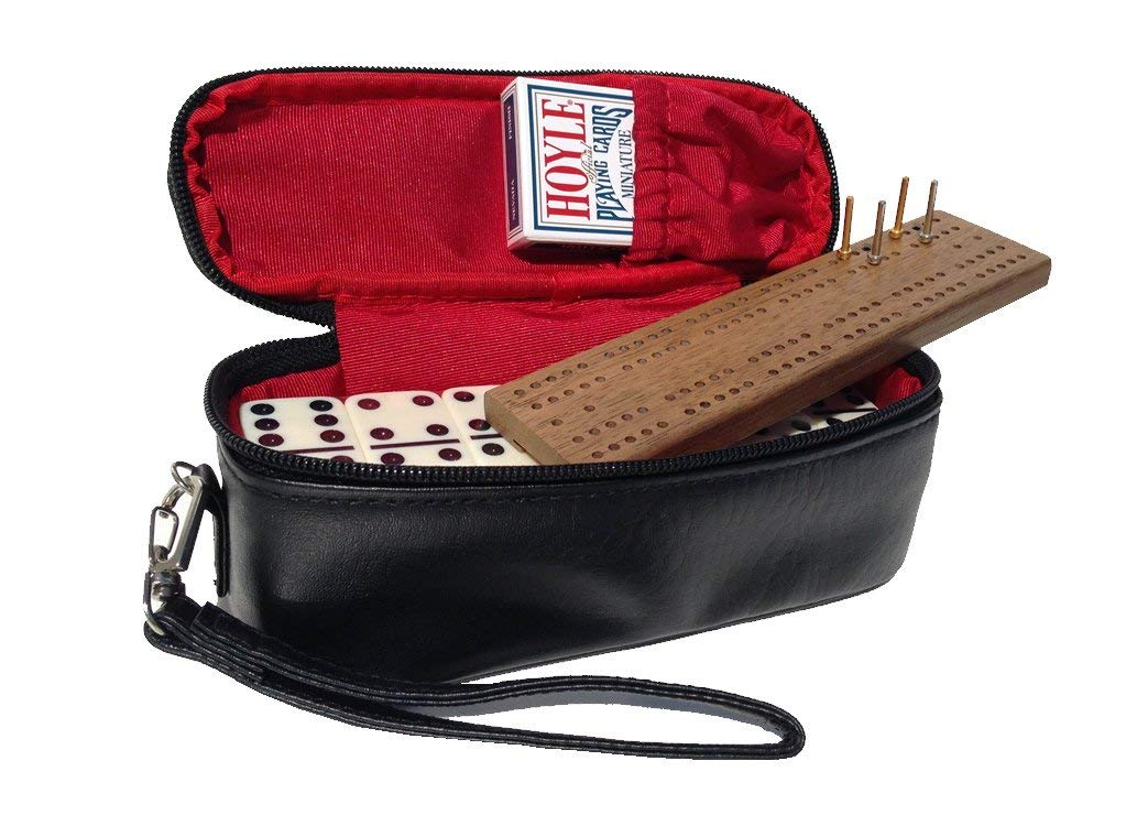 Alex Cramer The Perfect Traveler Classic Domino Set with Leather-Look Travel Case and a Deck of Miniature Playing Cards (Domino Set with Personalized Brass Plate)