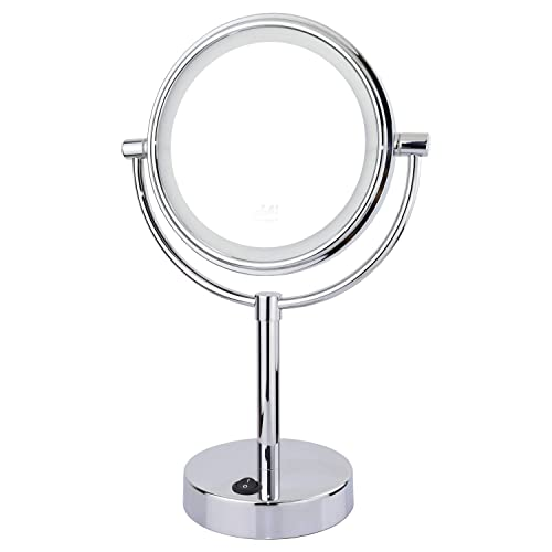 Mirko Lighted Makeup Mirror 1x 10x Magnification Double Sided Metal Chrome Finish Magnifying Mirror, Rechargeable and Cordless